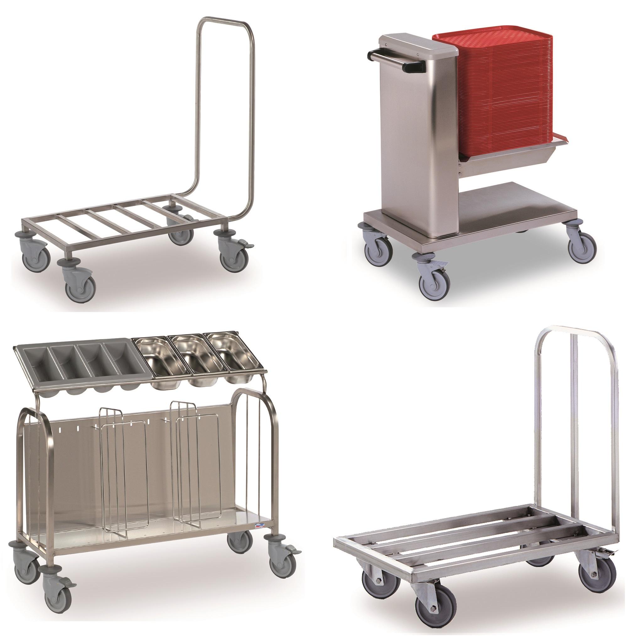 Tray and Cutlery Trolleys x4